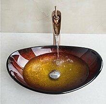 Gowe Barren Design Colorful Oval Waschbecken aus Sekuritglas mit Badezimmer Wasserhahn handbemalt Waschbecken Se