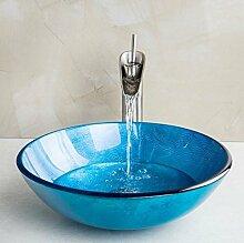 Gowe blau rund Waschbecken aus Sekuritglas mit Nickel gebürstet Badezimmer Wasserhahn und Pop Up Ablauf Waschbecken Se