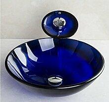 Gowe blau transparent rund Waschbecken aus Sekuritglas mit Wasserfall Wasserhahn, Pop–up Drain und Montagering