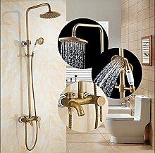 Gowe blau und weiß Porzellan Badewanne Armatur Antik Messing Regen Dusche Wasserhahn Handbrause