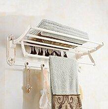 Gowe Blume geschnitzt weiß Malerei Badezimmer Handtuchhalter Regal Handtuch Bar w/Haken Kleiderbügel Wand montier