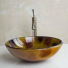 Gowe braun rund Waschbecken aus Sekuritglas mit