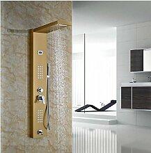 Gowe breitgefächert goldenen polnischen Duschpaneel Badezimmer Badewanne Wasserhahn mit Handbrause Wand montiert Thermostat Dusche