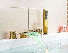 Gowe breitgefächert LED Farbwechsel Wasserfall Badezimmer Badewanne Wasserhahn Mischbatterie