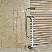 Gowe Chrome Messing Badezimmer Badewanne Wasserhahn w/Stil Handbrause Armatur Freistehend Dual Beine Mixer