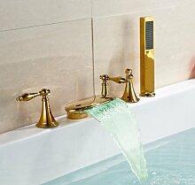 Gowe Classic 5x breitgefächert Wasserfall Farbwechsel LED Badewanne Wasserhahn Deck Mounted Badezimmer Badewanne Wasserhahn Mischbatterie mit Handbrause