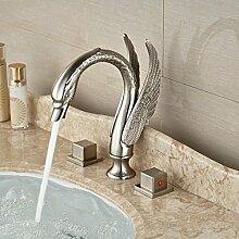 Gowe Deck montieren Swan Stil Dual, Quadratische Griffe Badezimmer Mixer Wasserhahn breitgefächert Waschbecken Wasserhähne