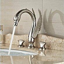 Gowe Deck montieren Swan Stil Waschbecken Wasserhahn breitgefächert Badewanne Armatur Dual Griff gebürstet Nickel