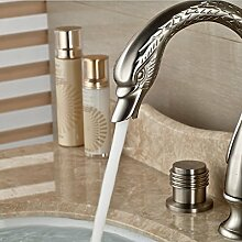 Gowe Deck montiert Nickel gebürstet Waschbecken Wasserhahn doppelte Griffe Armatur