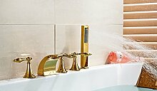 Gowe Drei Griffe LED Badewanne Wasserhahn Gold Plate Badezimmer Centerset Mischbatterie Wasserhahn