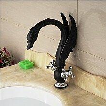 Gowe Dual Cristal Griffe Artistic Badezimmer Waschbecken Wasserhahn Deck montieren Öl eingerieben Bronze Finish