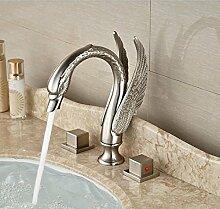 Gowe Dual Griff Badezimmer Wasserhahn gebürstetem