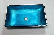 Gowe eckig blau Artistic Sieg Schiff Waschbecken Spüle Waschbecken aus Sekuritglas mit Messing