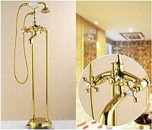 Gowe Freistehender Badezimmer Gold Badewanne Wasserhahn mit Keramik Handbrause