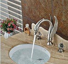 Gowe gebürstet Nickel Deck montieren Badezimmer Waschbecken Wasserhahn Dual Griff 3Löcher Hot Cold Mischarmaturen