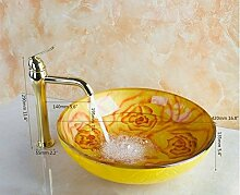 Gowe gelb rose Malerei rund Badezimmer Waschbecken Waschbecken aus Sekuritglas mit Messing poliert golden Wasserhahn Se