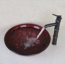 Gowe gelb rund Waschbecken aus Sekuritglas mit
