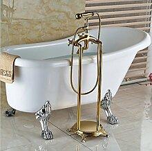 Gowe Golden Finish aus massivem Messing Badezimmer Badewanne Wasserhahn Dual Kreuz griffe Telefon Stil Handbrause Armatur