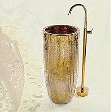 Gowe Golden Messing runde Stil Bodenmontage Badezimmer Badewanne Wasserhahn Badewanne Mischbatterie,