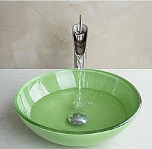 Gowe grün rund gehärtetem Glas Waschbecken