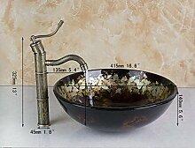 Gowe handbemalt Klassisches Glas rund Badezimmer