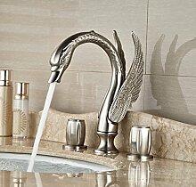 Gowe High-End Schwan Waschbecken Wasserhahn Messing Nickel gebürstet Deck montieren breitgefächert Mischbatterie für Badezimmer