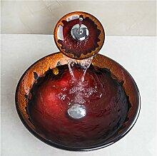 Gowe Hot Melt Waschbecken rund Waschbecken aus Sekuritglas mit Wasserfall Wasserhahn Se