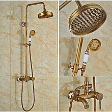 Gowe Keramik Stil Hebel 20,3cm Badezimmer Badewanne und Dusche Set Wasserhahn Wandhalterung Regendusche Armatur mit Handbrause