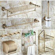 Gowe klassischen Antik Solide Messing Bad Ablage Serie Regal Wandhalterung Handtuchhalter Rack