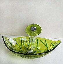 Gowe Leaf handbemalt grün Leaf Waschbecken aus Sekuritglas + Wasserfall Chrom Wasserhahn + Pop Up Ablauf Waschbecken Se