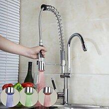 Gowe LED Light Pull Out Down chrom Deck montieren Waschbecken, Wasserhähne, Einhebelmischer Küche Torneira