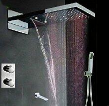 Gowe LED Thermostat Badezimmer Dusche & Badewanne Wasserhahn Wandhalterung Duschkopf, viereckig
