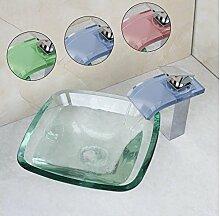 Gowe LED Wasserfall Badezimmer Wasserhahn mit Frosted Waschbecken aus Sekuritglas und Pop Up Ablaufgarnitur rund Waschbecken Se