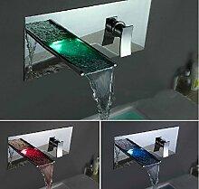 Gowe LED Wasserfall Wand montiert Wasserhahn Bad Wasserhahn Bad, Badewanne Mischbatterie Wasserhahn Wasserhahn
