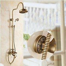 Gowe Luxus 20,3cm Messing antik Finish Badezimmer Niederschlagsmenge mit Spray Dusche Wasserhahn Set Duscharmatur, Wandmontage Wasserhahn Se