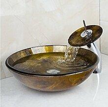 Gowe Luxus Antik Waschbecken rund Waschbecken aus Sekuritglas mit Wasserhahn Waschbecken Se