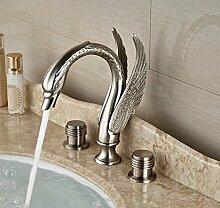 Gowe Luxus Deck montieren Badezimmer Waschbecken Wasserhahn Dual Griffe Swan Form Nickel gebürstet 3Schiff Einhebelmischer