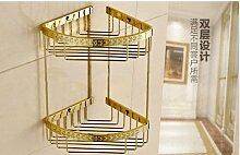 Gowe Luxus Golden geschnitzt Blume Badezimmer Regal 2Etagen Dusche Caddy Aufbewahrungskorb