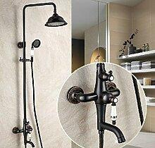 Gowe Luxus Keramik Öl eingerieben Bronze Regen Dusche Wasserhahn Badewanne Armatur Handbrause