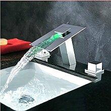 Gowe Luxus Messing Waschbecken Wasserhahn mit LED, Chrome Finish, Deck montiert LED Mixer