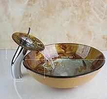 Gowe Malerei rund Badezimmer Waschbecken verheißungsvollen Wolken Waschbecken aus Sekuritglas mit Wasserfall Chrom Wasserhahn Se