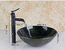 Gowe Malerei rund Badezimmer Waschbecken Waschbecken aus Sekuritglas mit Messing Öl eingerieben Bronze Wasserhahn Se