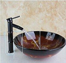 Gowe Malerei rund Badezimmer Waschbecken Waschbecken aus Sekuritglas mit Öl eingerieben brounze Wasserhahn Se