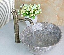 Gowe Messing antik Küchenarmatur + Waschbecken-Marke Hand Paint Farbe Waschbecken Spüle Keramik Messing Mixer Wasserhahn Waschbecken