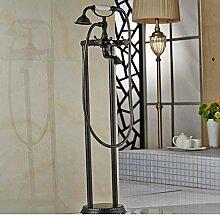 Gowe Modern Wasserfall Badewanne Armatur Wasserhahn Dual freistehend Kreuz griffe mit Handbrause Boden Halterung