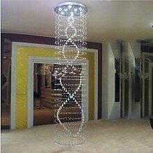 Gowe Moderne Lampe Kristall Kronleuchter Spirale LED Leuchtmittel Edelstahl Himmel Regen Drop Kristall Wohnzimmer Home Beleuchtung
