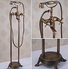Gowe montiert freistehend Antik Messing Badewanne Wasserhahn Mischbatterie Wasserhahn w/Handbrause