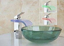 Gowe Neue Schöne LED Chrom Wasserhahn und Badezimmer grün Waschbecken Schiff Wasserhahn WC Glas Becken Sets