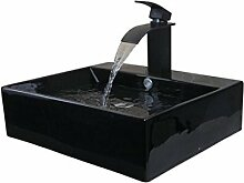 Gowe New schwarz Keramik Waschbecken Schiff WC Waschbecken Waschbecken Badewanne, Wasserhähne, Armaturen & Wasserhähne