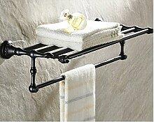 Gowe Öl eingerieben Bronze Blume geschnitzt Badezimmer Regal Handtuch Rack Halter w/Handtuch Bar